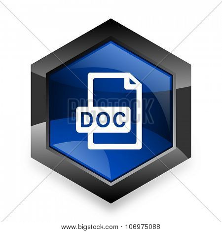 doc file blue hexagon 3d modern design icon on white background