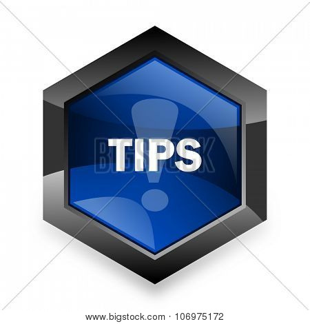tips blue hexagon 3d modern design icon on white background