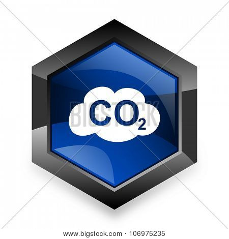carbon dioxide blue hexagon 3d modern design icon on white background