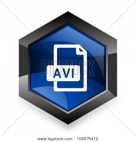 avi file blue hexagon 3d modern design icon on white background
