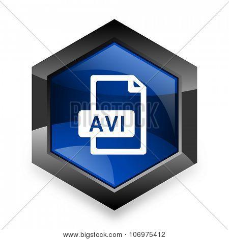 avi file blue hexagon 3d modern design icon on white background