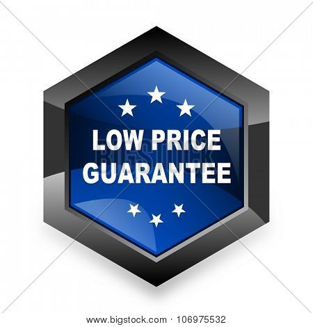 low price guarantee blue hexagon 3d modern design icon on white background