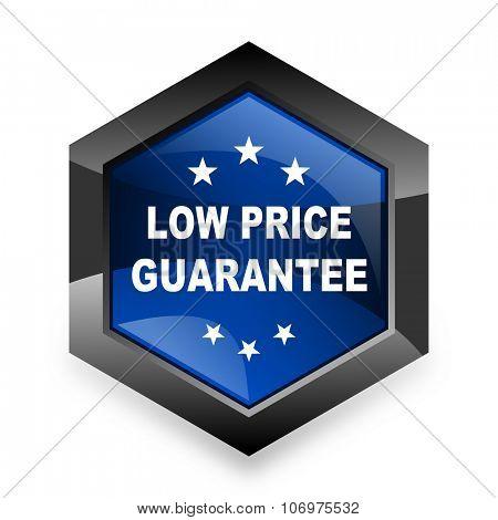 low price guarantee blue hexagon 3d modern design icon on white background