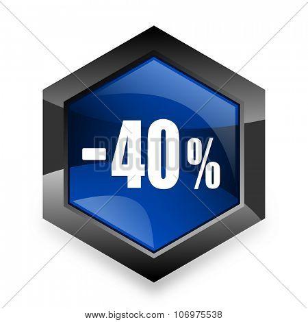 40 percent sale retail blue hexagon 3d modern design icon on white background