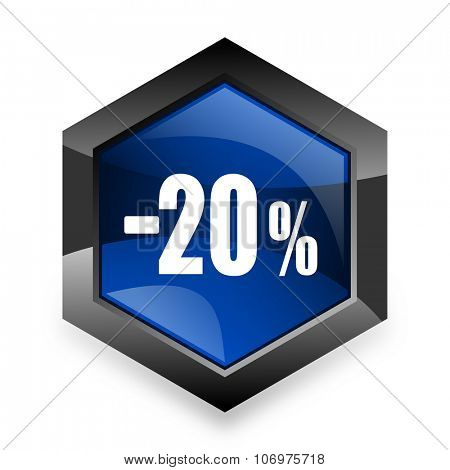 20 percent sale retail blue hexagon 3d modern design icon on white background