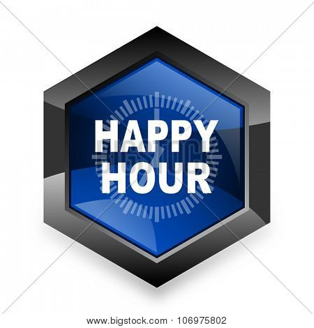 happy hour blue hexagon 3d modern design icon on white background