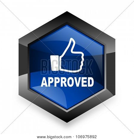 approved blue hexagon 3d modern design icon on white background