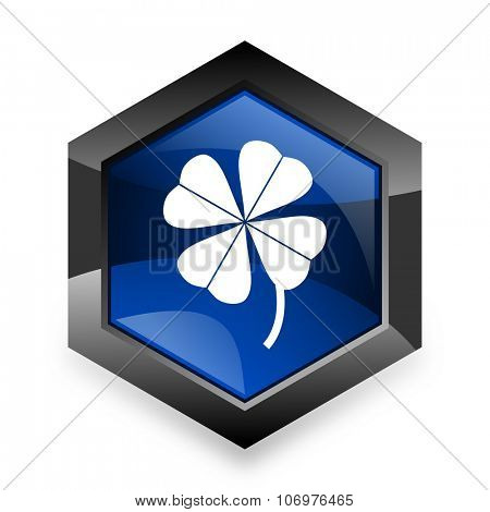 four-leaf clover blue hexagon 3d modern design icon on white background