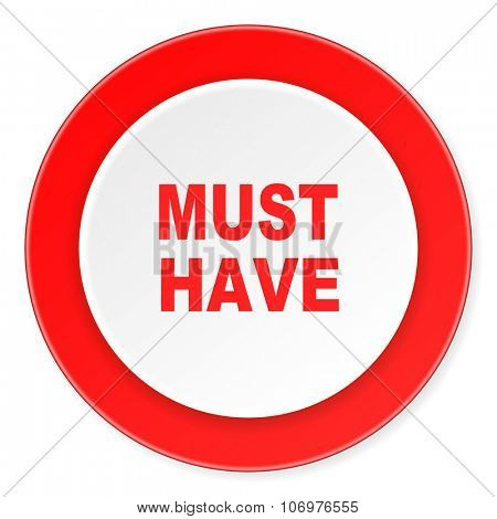 must have red circle 3d modern design flat icon on white background