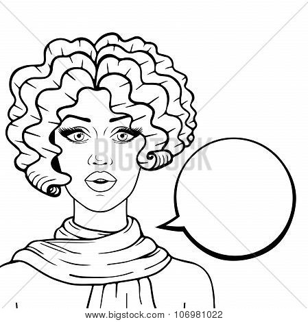 Surprised Woman With Think Bubble For Your Text Outlined, Attractive Retro Woman Vector Illustration