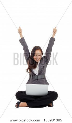Successful Businesswoman Holding Arms Up, Success!