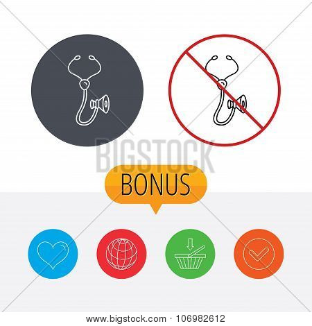 Stethoscope icon. Medical doctor equipment.