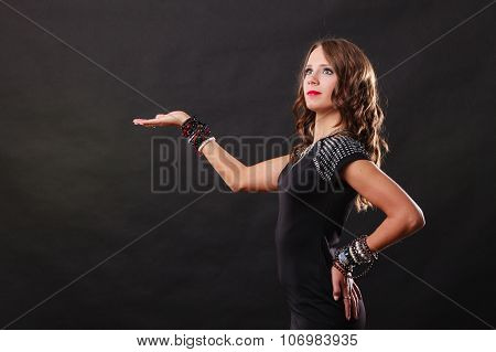 Elegant Woman Wearing Bracelets Holds Open Hand