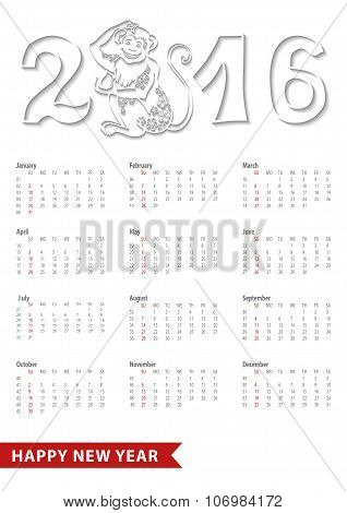 Calendar 2016.Chinese zodiac monkey,numbers.White