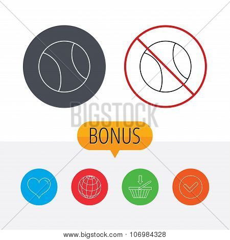 Tennis icon. Sport ball sign.