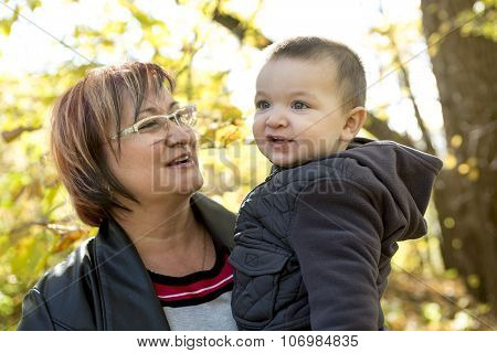 happy grandma with grandson outdoor