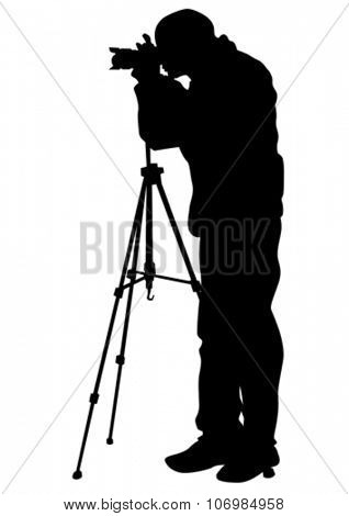 Journalist and camera tripod on white background