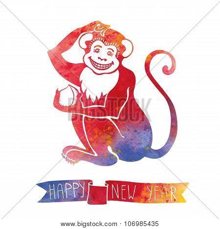 Chinese zodiac monkey.Watercolor