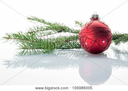 Christmas Ball And Green Fir Tree, On White Background