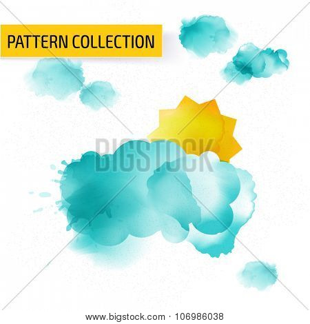 Colorful watercolor background template design. Cover layout.