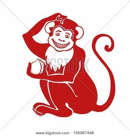 Red monkey.Chinese zodiac sign