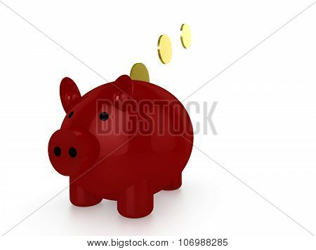 Red Piggybank With Gold Coins