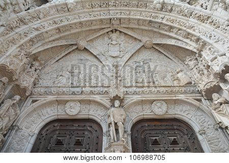 Beautiful Gothic Portal Of Jeronimos Monastery