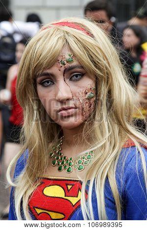 Super Woman In Zombie Walk Sao Paulo