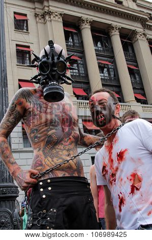 Guys In Costumes In Zombie Walk Sao Paulo