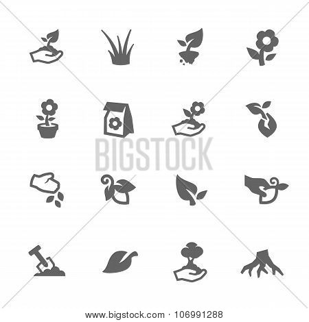 Simple Growing Plants Icons