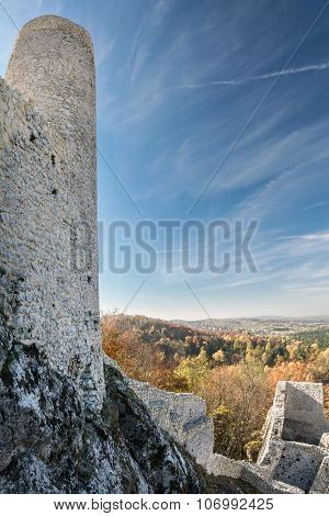 Ruins of medieval castle Smolen, near Pilica. located on the Trail of the Eagles' Nest within the Krakow-Czestochowa Upland, Poland