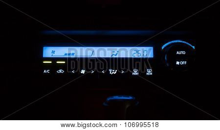 Conditioner And Air Flow Control Digital System In A Car Night Time
