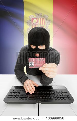 Hacker With Flag On Background Holding Id Card In Hand - Andorra