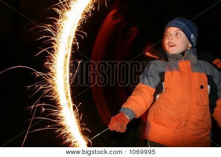 Child With Moving Sparkler