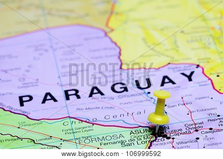 Asuncion pinned on a map of America
