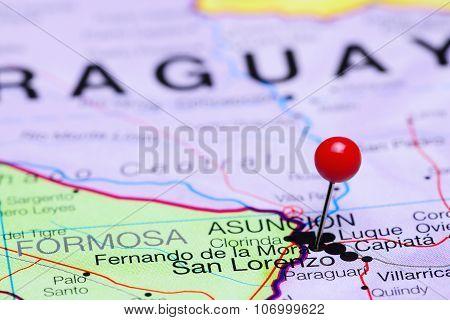 Fernando de la Mora pinned on a map of America