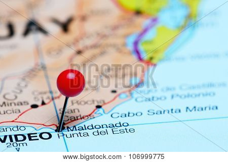 Punta del Este pinned on a map of America