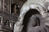 Buddhist rock temple in Ajanta, India.
