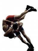 Постер, плакат: two caucasian wrestlers wrestling men on isolated silhouette white background