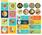 Постер, плакат: Set of Different Tasty Dishes Flat