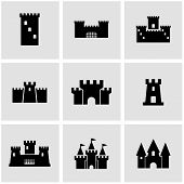 Постер, плакат: Vector Black Castle Icon Set