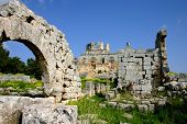 image of euphrat  - ruins of historic simonis abbey in syria - JPG