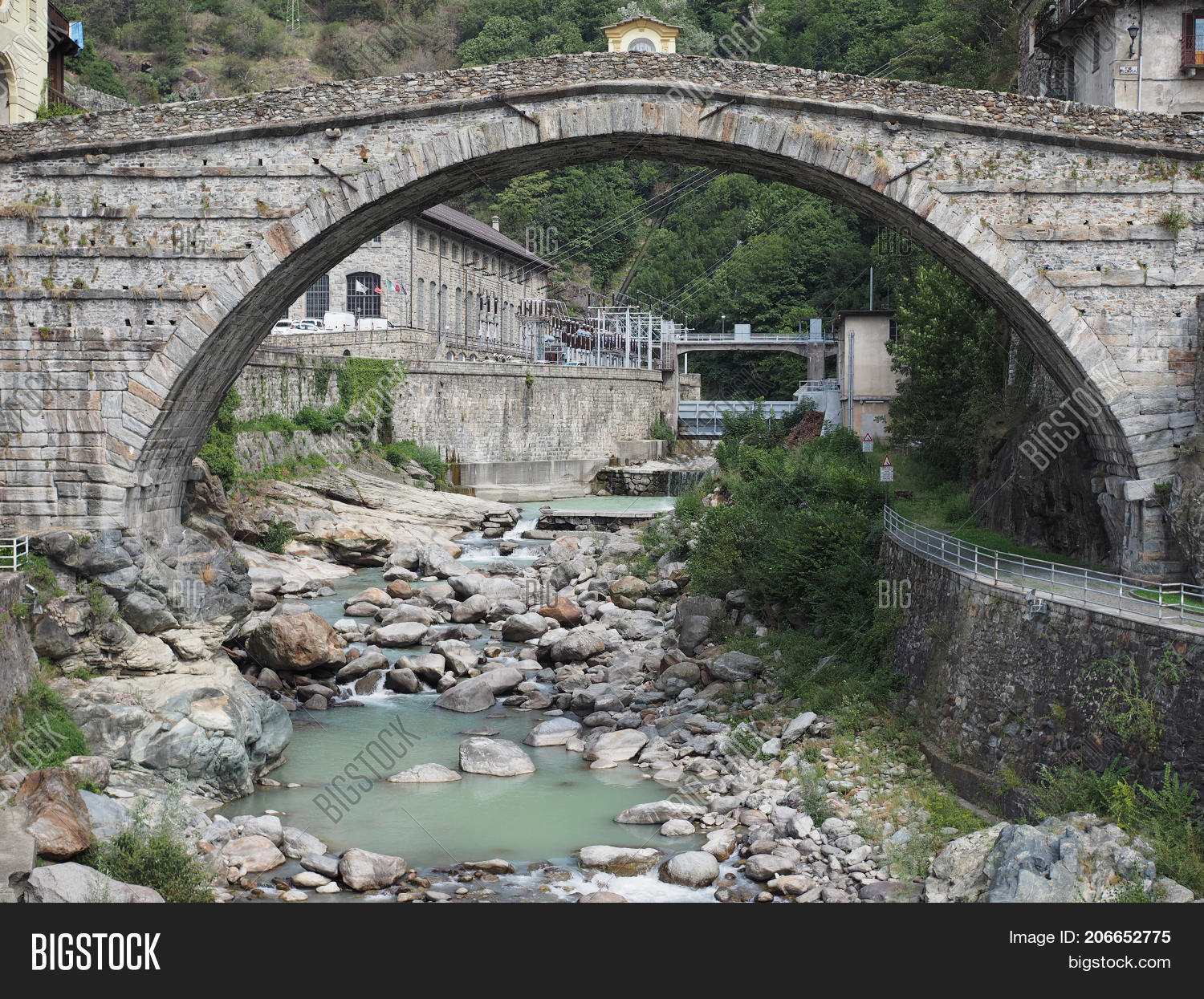 roman bridge pont saint martin image photo bigstock. Black Bedroom Furniture Sets. Home Design Ideas