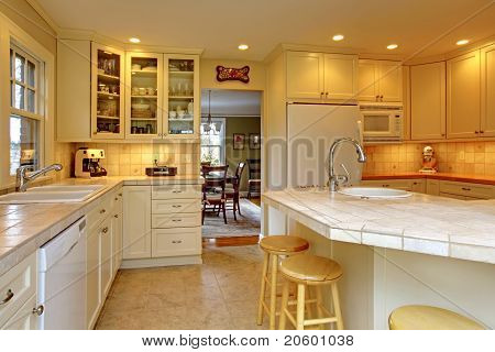 Yellow Cream White Luxury Kitchen