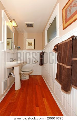 Small Bathroom With White And Cherry Floor