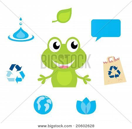Cute Green Frog Character, Ecology, Nature And Water Icons And Symbols.