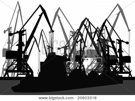 Port cranes and barge
