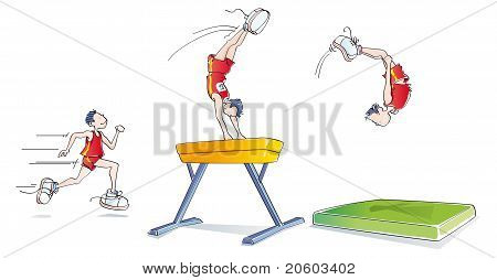 Funny Man Doing Gymnastics
