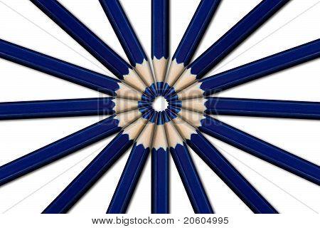 A Circle Of Blue Pencils