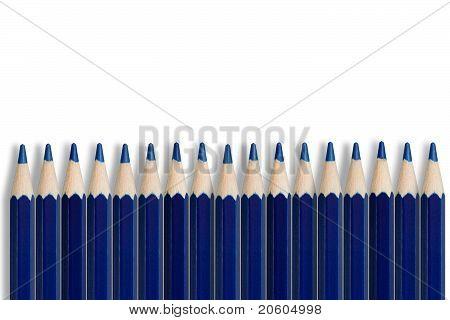A Line Of Blue Pencils